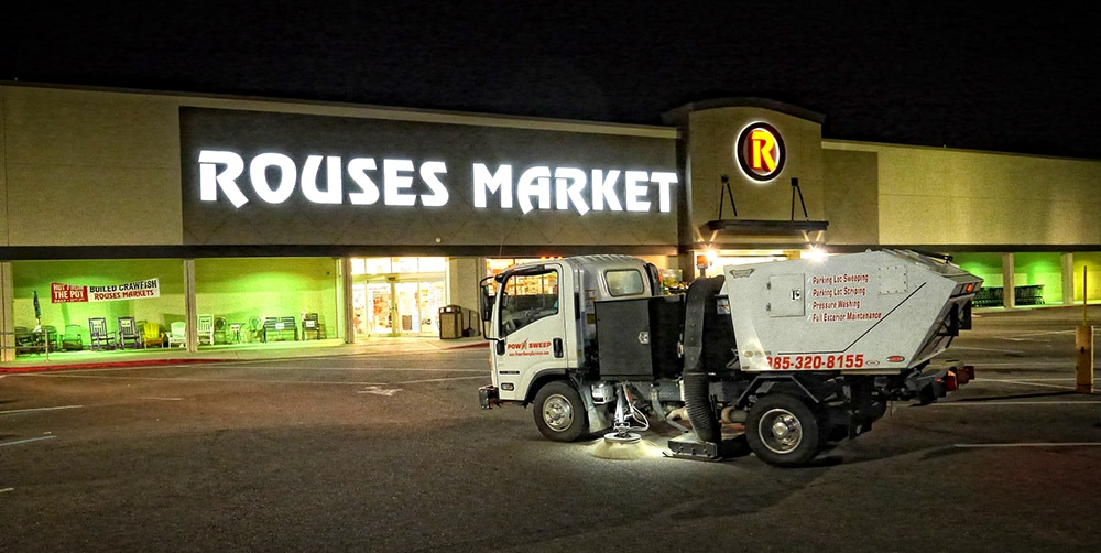 Power Sweeping for Retail Parking Lot with Truck